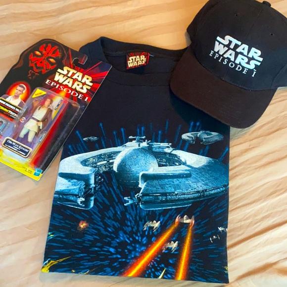 1999 STAR WARS EPISODE 1 bundle hat,shirt,figure!!